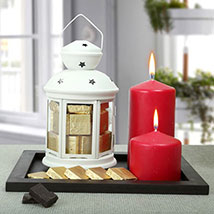 Assorted Chocolates and Red Candles Combo: Gifts For Onam
